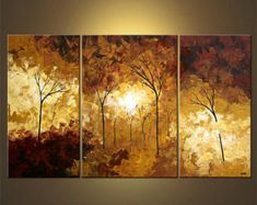 Landscape Painting Blooming Trees Painting by OsnatFineArt on Etsy
