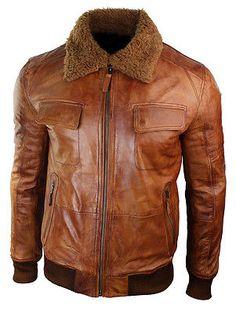 Mens B3 Bomber Rust Tan Brown Removable Fur Collar aviator Pilot Leather jacket
