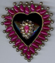 HUGE FRENCH VINTAGE DIMENSIONAL GLASS & PEARL JEWELED HEART PIN