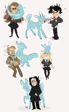 Doodled some dorks with their patronuses to loosen up my wrist ¯\_(ツ)_/¯