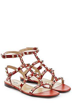 VALENTINO  Rockstud Embellished Leather Sandals | STYLEBOP.com