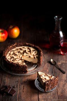 Cheesecake vanille & chocolat, sans gluten, sans lactose, vegan et sans cuisson.