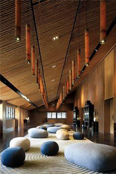 zen rug in the idea room with Verellen's pebble ottoman Lobby Interior, Restaurant Interior Design, Luxury Interior, Luxury Restaurant, Restaurant Chairs, Farmhouse Stools, Zen, Hotel Lobby Design, Koh Chang