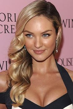 side part with loose waves for thick hair More