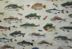Fresh Water Fish Bass Brim Crappie Bait Fly Plugs Fishing Lake Cabin Lodge Curtain Valance. $19.99, via Etsy.