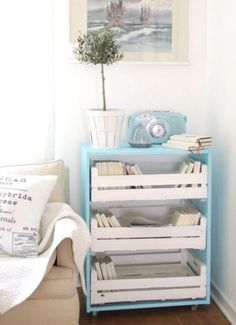 painted crates as drawers Pallet furniture? Diy Chest Of Drawers, Dresser Drawers, Diy Home Decor, Room Decor, Diy Casa, Pallet Furniture, Furniture Ideas, Home Organization, Home Projects