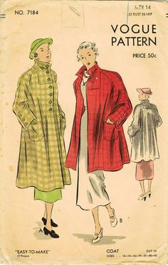 1930s Vogue 7184 FF Vintage Sewing Pattern by midvalecottage