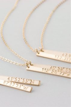 Coordinates Necklace / Customized Dainty Vertical Bar Necklace, Gold Fill, Silver, Rose Gold Fill Necklace Layered and Long Collier En Barre D'or, Dainty Gold Necklace, Or Rose, Rose Gold, Silver Bars, Custom Jewelry, Women's Jewelry, Personalized Necklace, Handcrafted Jewelry