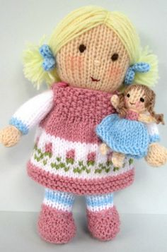 Baby Knitting Patterns Wear DOLLY ROSE and tiny doll knitting pattern Pdf von dollytime Baby Knitting Patterns, Knitted Doll Patterns, Knitted Dolls, Crochet Dolls, Knitting Yarn, Crochet Patterns, Crochet Cats, Crochet Birds, Crochet Food