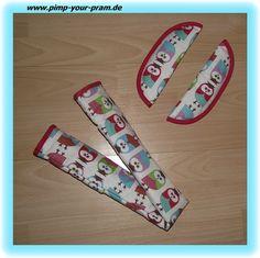 Gurtpolster & Bügelbezug-Set Eulen rot/türkis/grün von Pimp Your Pram auf DaWanda.com