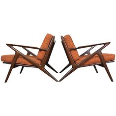 Danish Modern Z Lounge Chairs by Poul Jensen for Selig | From a unique collection of antique and modern lounge chairs at https://www.1stdibs.com/furniture/seating/lounge-chairs/
