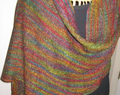 Handwoven Shawl Woven Scarf Wrap Painted by barefootweaver on Etsy