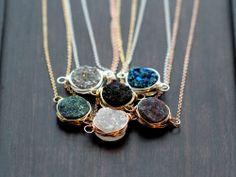 Our new druzy necklaces - available online www.GraffitiBeach.com, $48 each