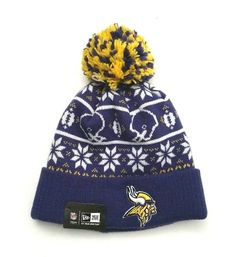 9319fe35 New Era Minnesota Vikings Sweater Chill Knit Cuffed Pom Skull Cap Purple  OSFM #NewEra #