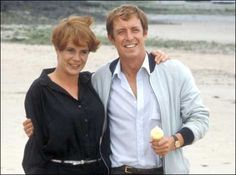 Celia Imrie as Marie Ann Belshade and John Nettles as Bergerac. Celia appeared in series two only as Bergerac's girlfriend but was open about her dislike of Jersey in her autobiography. Celia Imrie, Marie Ann, Inspector Lewis, John Nettles, Holby City, Bbc Tv Shows, Midsomer Murders, Theme Tunes, Detective Series