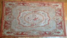 Check out FREE SHIPPING Gorgeous Machine Made, French Abbusson Rug. Muted Colours. A Lovely Shabby Chic Item to Bring A Touch of France Into Your Home on fleursenfrance
