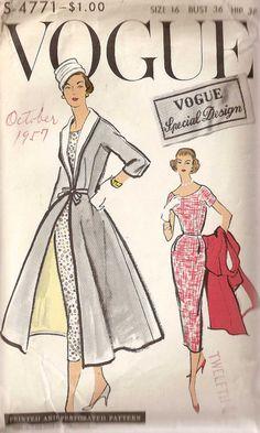 Vtg 1950s Vogue Special Design 4771 Dress & Redingote Coat PATTERN 32B UNCUT