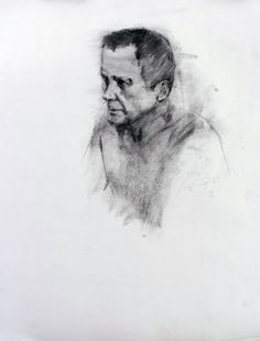 """CHARCOAL DRAWING - MALE HEAD  Drawing, Charcoal on Paper, 24.0""""h x 18.0""""w"""