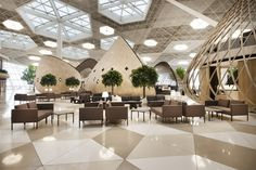 The new terminal at Azerbaijan's Heydar Aliyev International Airport will soon open in the country's capital of Baku. The landmark terminal features interior architecture and experiential design by the globally acclai. Turkish Architecture, Interior Architecture, Interior Design, Design Interiors, Airport Design, Airport Lounge, Mall Design, Cafe House, Floor Patterns