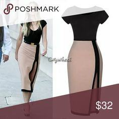 5aefaed0908 Short Sleeve Pink Bodycon Dress Short Sleeve Pink   Black with side split  Bodycon Dress Dresses