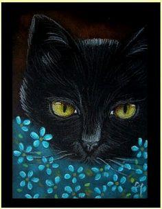 Gato preto e florzinha azuis
