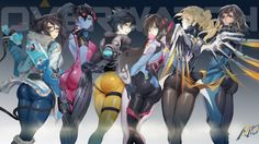 Overwatch Girls Mei Widowmaker Tracer D.Va Mercy and Pharah Wallpaper