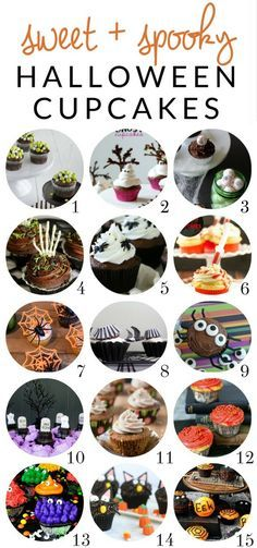 Keep dessert simple this year with these easy Hallowreeen cupcake ideas. From sweet to spooky, there is a treat for every style, with spiders, spider webs, witches, monsters, and more!