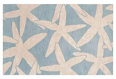 Starfish Rug, Powder Blue/White