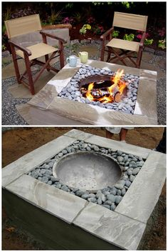 How to make a #DIY modern style concrete fire pit. Great idea! #backyard