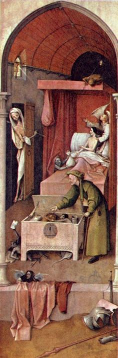 Hieronymus Bosch. Der Tod des Geizhalses. 1490-1500, Öl auf Holz, 92,6 × 30,8 cm. Washington (D.C.), National Gallery of Art. Niederlande. Renaissance. KO 02426