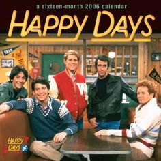 "Chachi Arcola, Potsie Weber, Richie Cunningham, Arthur ""Fonzie"" Fonzarelli, Ralph Malph. The cast of Happy Days (1974-1984)."