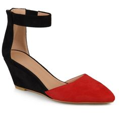 Women's Journee Collection Kova Faux Suede Ankle Strap Pointed Toe Wedges - Red 6.5