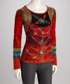 Look what I found on #zulily! Red & Purple Vine Pattern Long-Sleeve Top - Women #zulilyfinds
