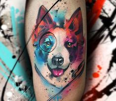 Dog tattoo by Pablo Ortiz Tattoo is part of - Very nice watercolor tattoo style of dog head motive done by artist Pablo Ortiz Tattoos Post 22137 World Tattoo Gallery Best place to Tattoo Arts Cat And Dog Tattoo, Dog Tattoos, Cat Tattoo, Animal Tattoos, Body Art Tattoos, Small Tattoos, Tattoo Perro, Painting Tattoo, Tattoo Watercolor