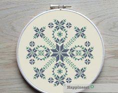 modern cross stitch pattern, geometric snowflake circle, PDF ** instant download**