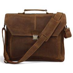 """Vintage Handmade Crazy Horse Leather Briefcase, Messenger, 17"""" MacBook / 16"""" Laptop Bag"""