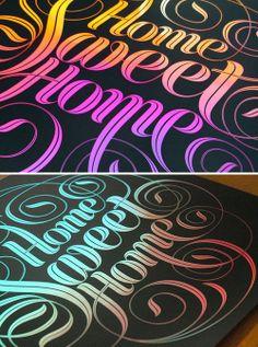 Black printed on rainbow paper