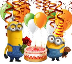 Happy Birthday Minions Gif, Birthday Wishes For Kids, Cute Happy Birthday, Happy Birthday Messages, Happy Birthday Images, Happy Birthday Greetings, Birthday Pictures, Image Minions, Creations