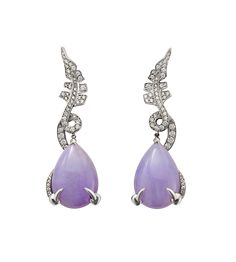 Lilac jade and diamond ear rings. David Marshall London