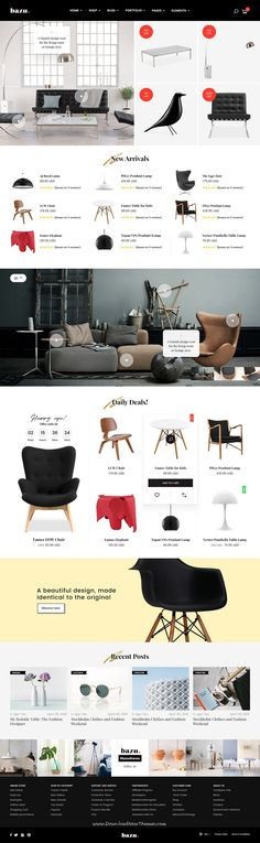 BAZU is clean and modern design multipurpose #PSD template for stunning interior, furniture shop eCommerce website with 10 unique homepage layouts and 60+ layered PSD page to live preview & download click on Visit #furnituredesign #webdesigns