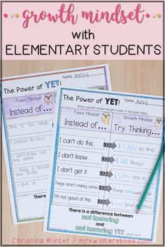 Do your students have a growth mindset or a fixed mindset? Here are some engaging ideas and activities for elementary kids. These lessons are designed as a way to foster a Growth Mindset culture in your classroom with your students. If you're interested in more of my Growth Mindset Resources including book and video links you can check them out here! Mrs. Winters Bliss #growthmindset #studentmindset #elementaryteachingideas