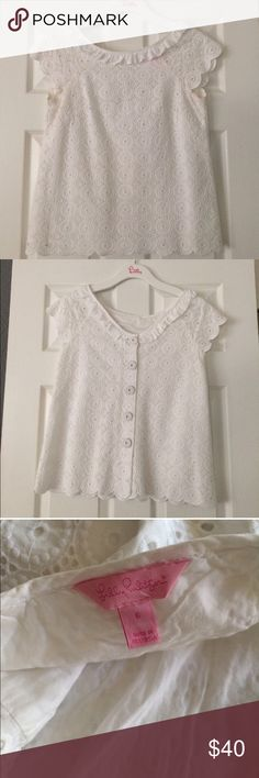 Price drop Lilly Pulitzer lace top sz 6 Perfect, flawless battonberg lace and lined top.  It is NOT cropped.  Fits up to 36C cup and is about 23-24 inches long.  Great with jeans or slacks.  Perfect pressed condition with no flaws. Great basic office and casual item.  Just cleaning my closet.  Discount on bundles.  No trades. Please use offer option to negotiate price and not comments. Lilly Pulitzer Tops