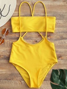 Strapless Top and High Rise Cami Swim Bottoms - YELLOW XL #Yellow
