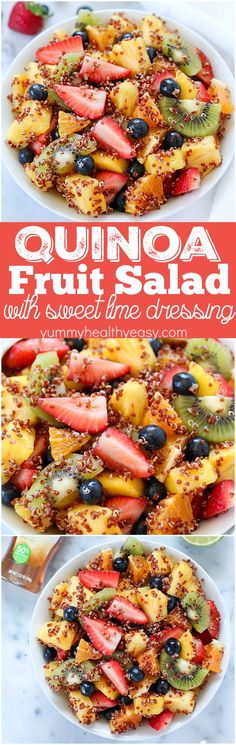 Quinoa Fruit Salad tossed in a Sweet Lime Dressing - this colorful, healthy side dish goes with any meal! It's the prefect combo of sweet fruit & tart lime! AD