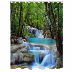 3D Waterfall Bathroom Curtain Waterproof Shower Curtain Scenery Home Textile Polyester Bath Products with 12 Hooks #Affiliate