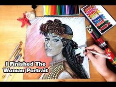 hello friends im Gamze I'm going to show you the final stage of drawing women's portrait with mixed technique (dry paint -style paint - felt-tip pen - gilded. Female Portrait, Portrait Art, Colored Pencils, Make It Yourself, Drawings, Youtube, Painting, Women, Colouring Pencils