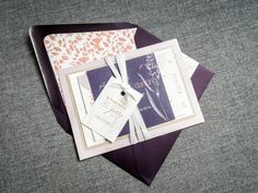 Purple and Coral Wedding Invitations Floral by JulieHananDesign