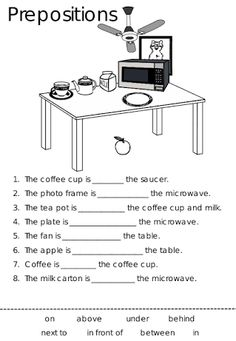 English worksheet: using in,on,under,next to to talk about