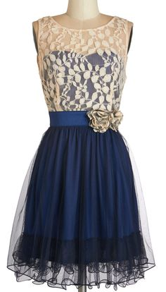 Home Sweet Scone Dress in Navy - lace over the top and longer sheer layers over the skirt...