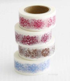 Flowers MASTÉ 20mm Japanese Washi Tape - Washi Maste Tape - Japanese Washi Tape